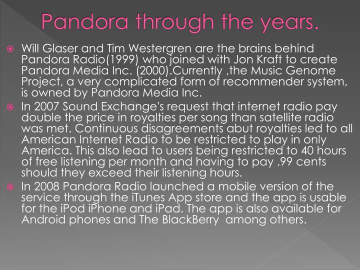 Pandora through the years.