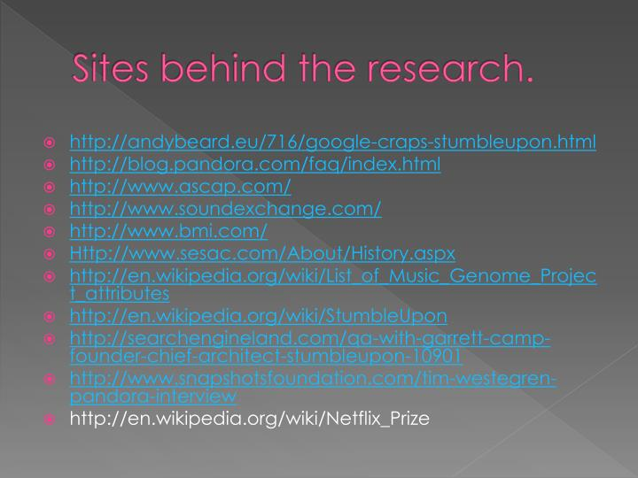 Sites behind the research.