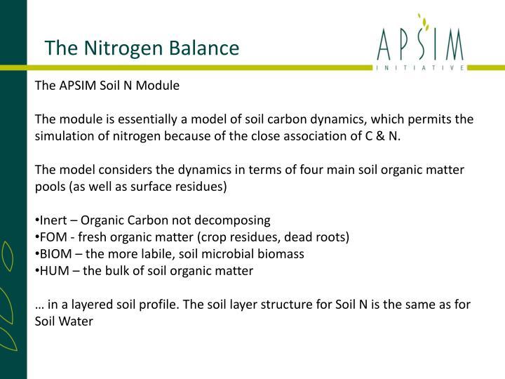 The Nitrogen Balance
