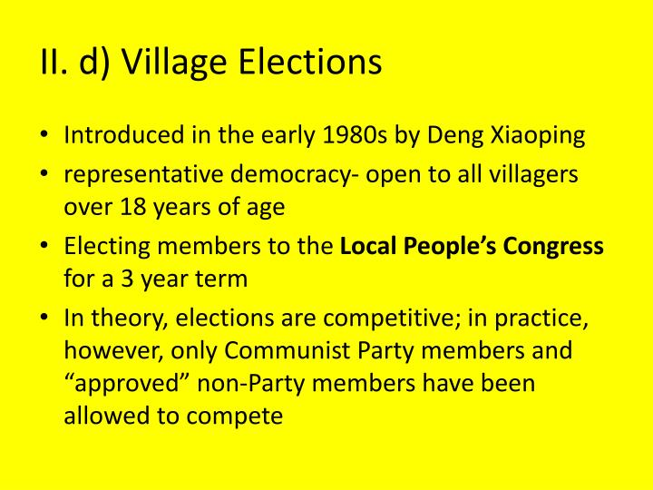 II. d) Village Elections