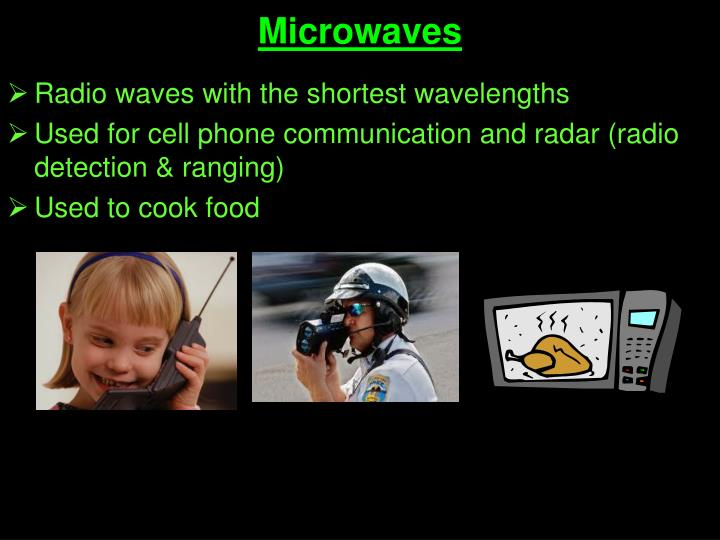 Radio waves with the shortest wavelengths