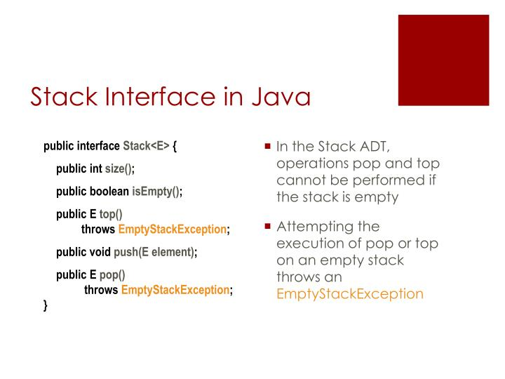 Stack Interface in Java