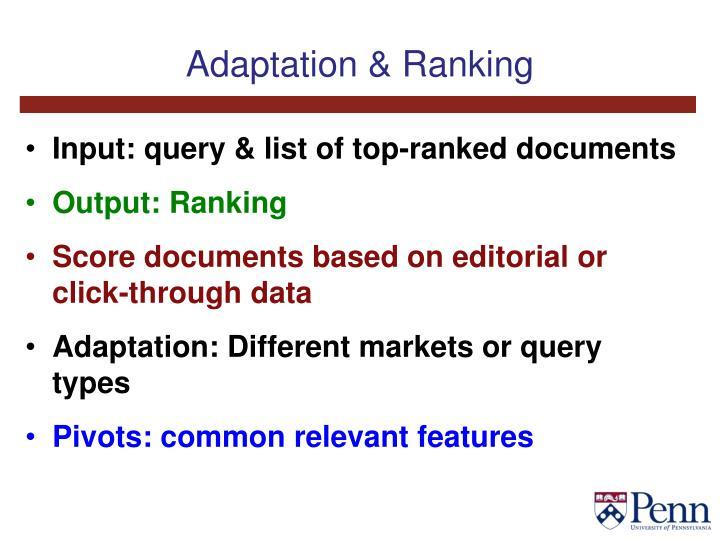 Adaptation & Ranking