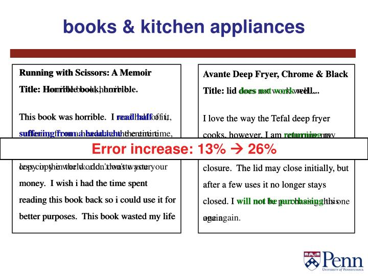 books & kitchen appliances