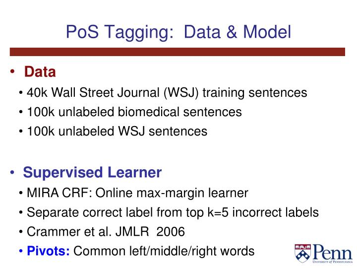 PoS Tagging:  Data & Model