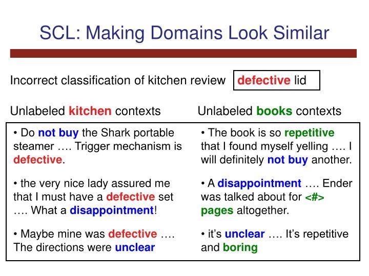 SCL: Making Domains Look Similar