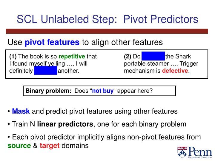 SCL Unlabeled Step:  Pivot Predictors