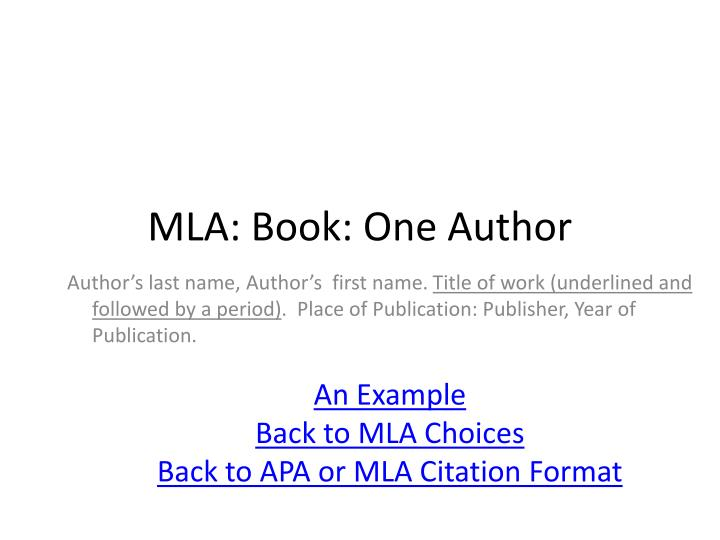 mla book one author n.