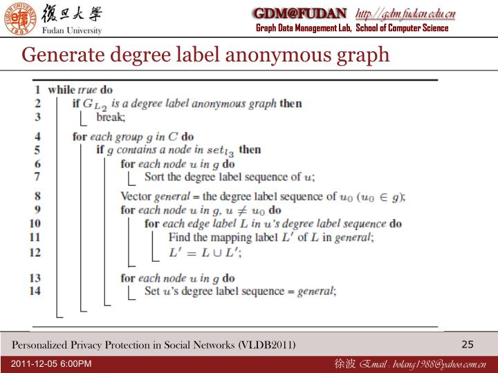 Generate degree label anonymous graph