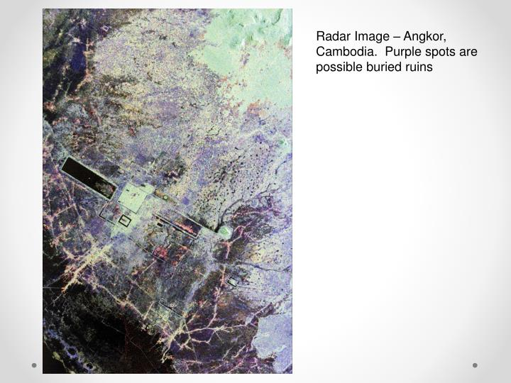Radar Image – Angkor, Cambodia.  Purple spots are possible buried ruins