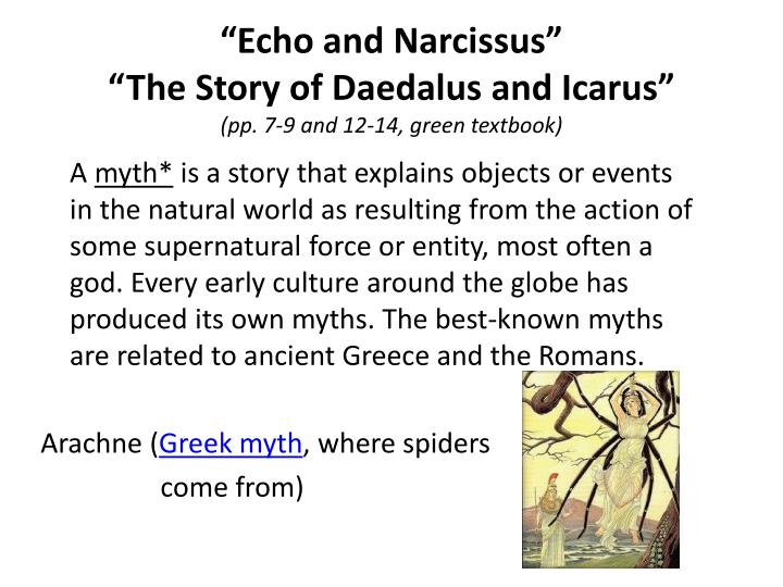 the flight of icarus and echo and narcissus why they are classical myths The myth of narcissus the story of narcissus is featured in the book entitled favorite greek myths by lilian stoughton hyde, published in 1904 by d c heath and company.