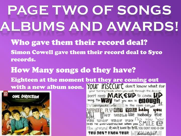 Page Two Of SONGS ALBUMS AND AWARDS!