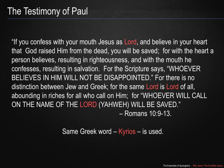 The Testimony of Paul