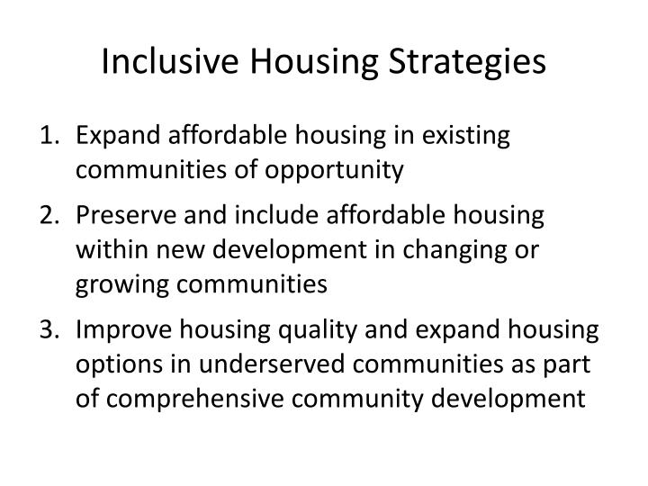 Inclusive housing strategies