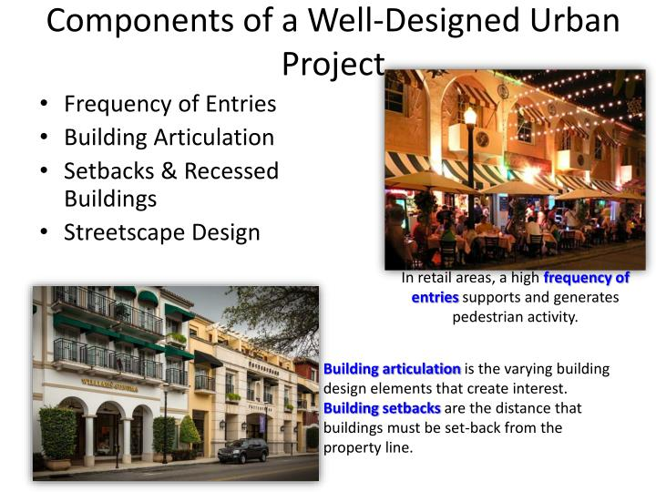 Components of a Well-Designed Urban Project