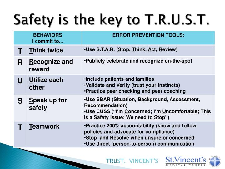Safety is the key to T.R.U.S.T