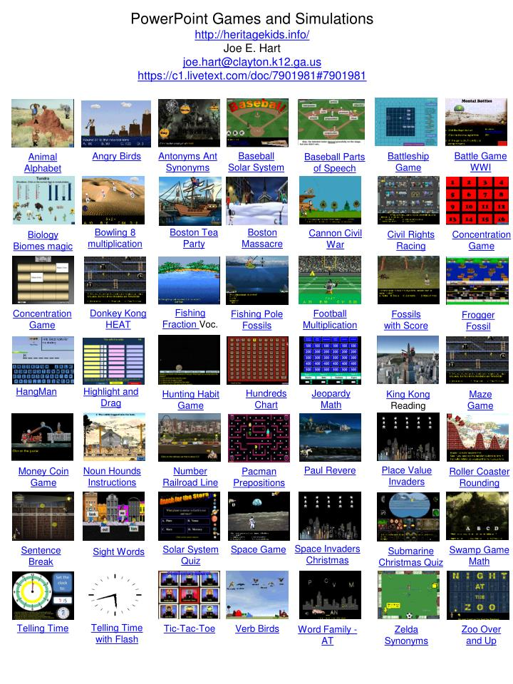 Powerpoint games and simulations
