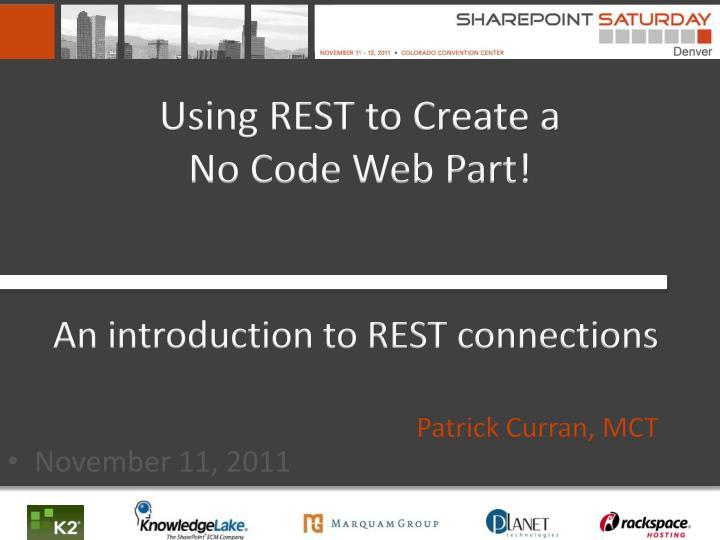 using rest to create a no code web part n.