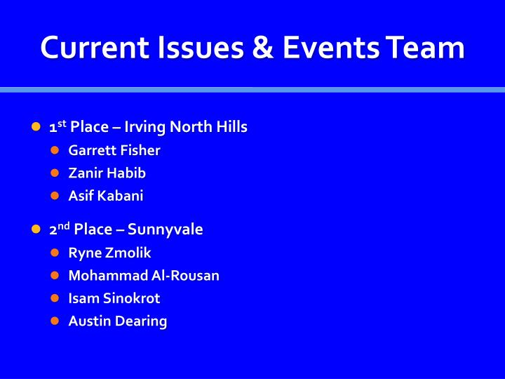 Current Issues & Events Team