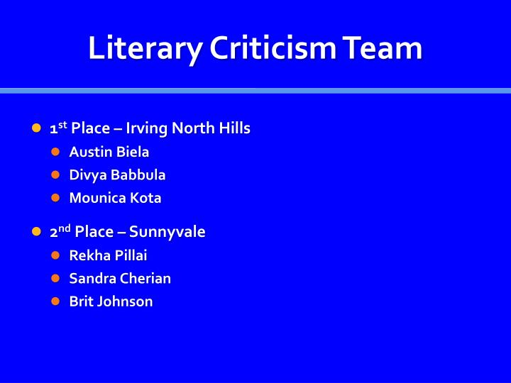 Literary Criticism Team
