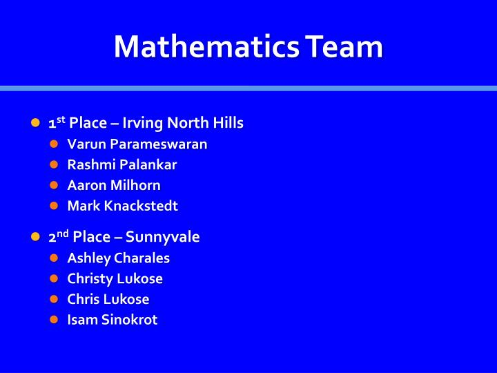 Mathematics Team
