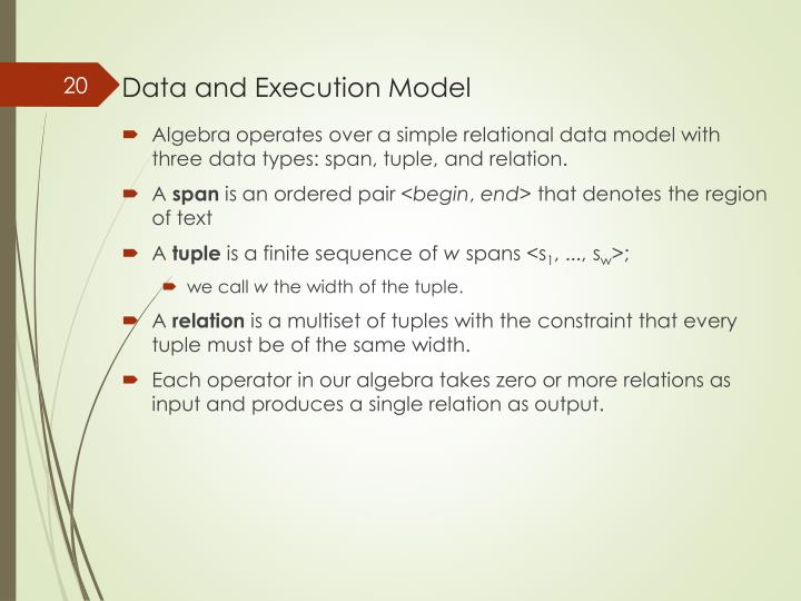 Data and Execution Model
