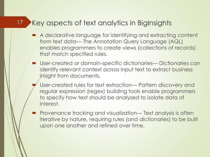 Key aspects of text analytics in