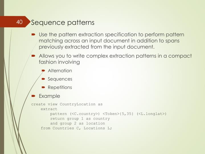 Sequence patterns