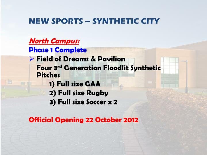 NEW SPORTS – SYNTHETIC CITY
