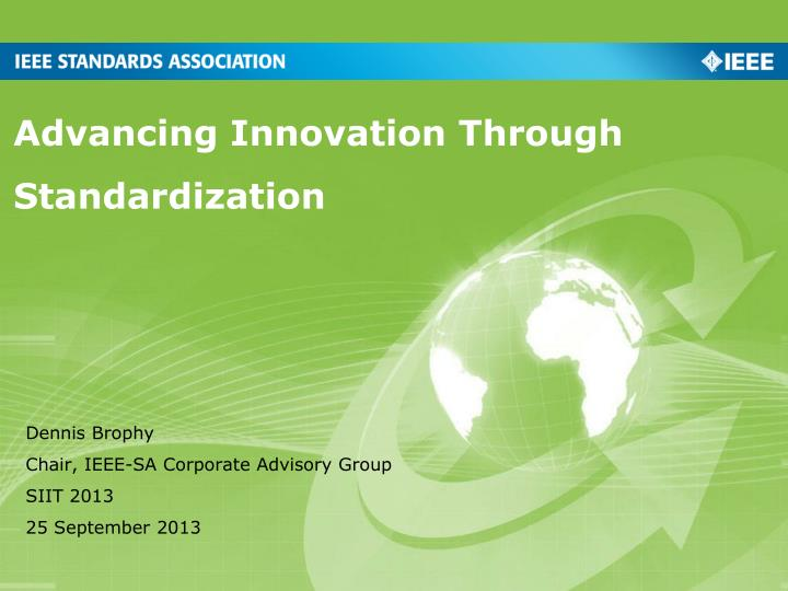 advancing innovation through standardization n.