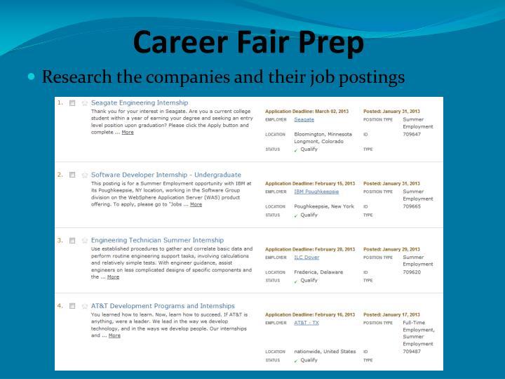 Career Fair Prep