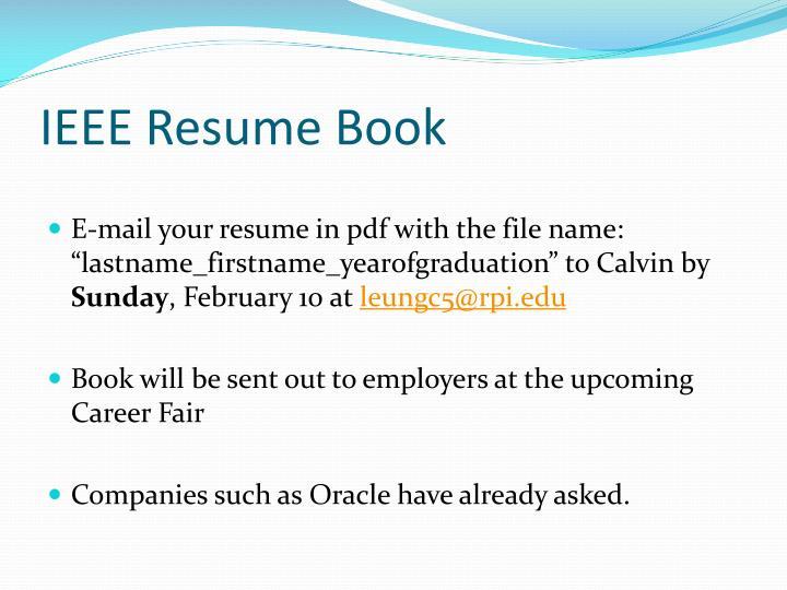 IEEE Resume Book