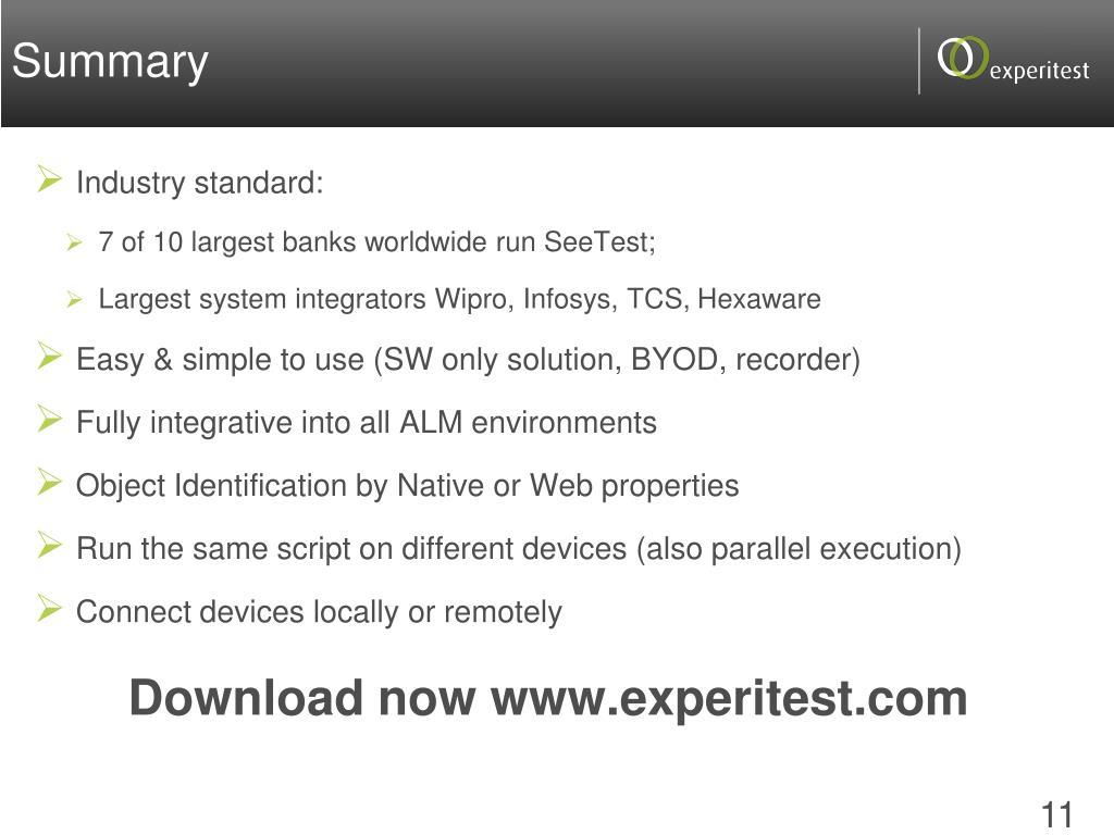 PPT - SeeTest Automation PowerPoint Presentation - ID:1860808