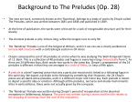 background to the preludes op 28