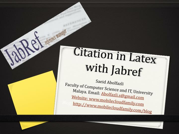 Ppt Citation In Latex With Jabref Powerpoint Presentation Free