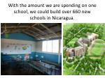 with the amount we are spending on one school we could build over 660 new schools in nicaragua