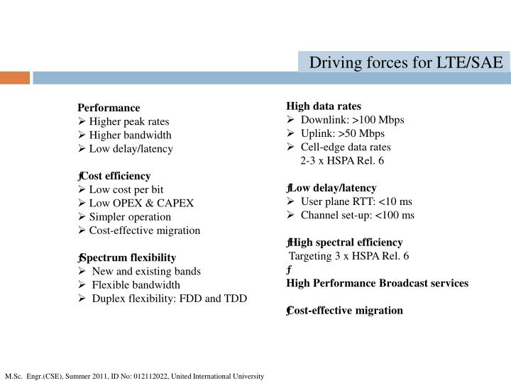 Driving forces for LTE/SAE