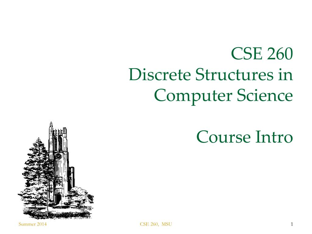 cse 260 discrete structures in computer science course intro n.