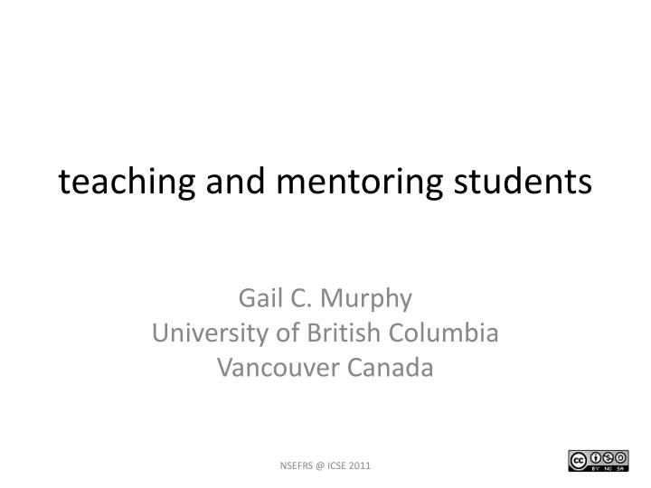 t eaching and mentoring s tudents n.
