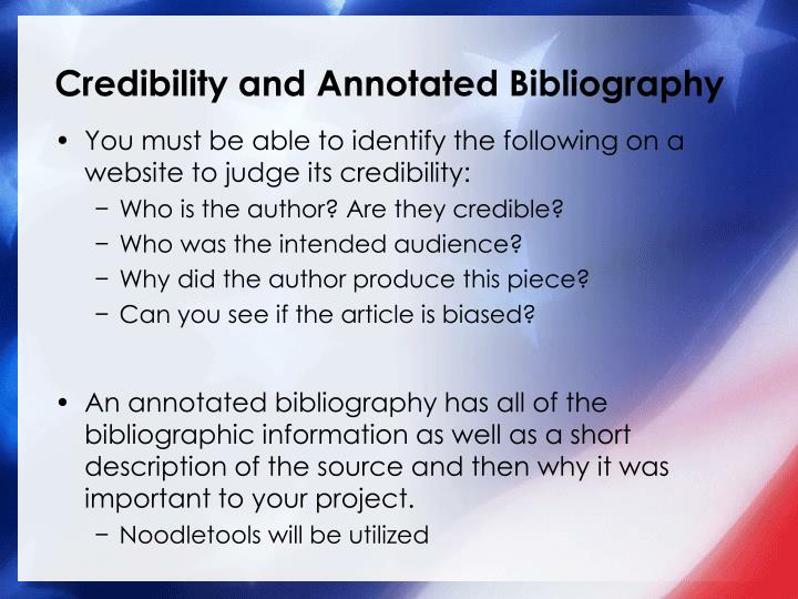 Credibility and Annotated Bibliography