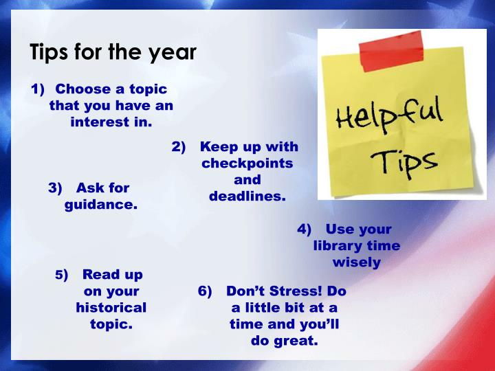 Tips for the year