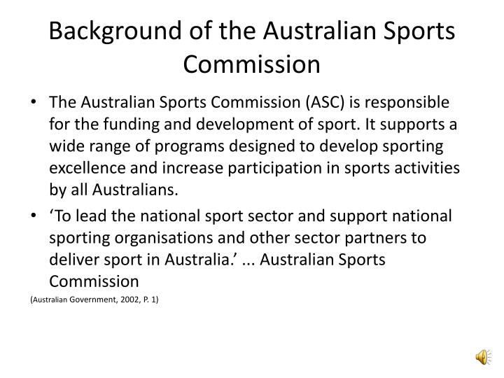 Background of the Australian Sports Commission