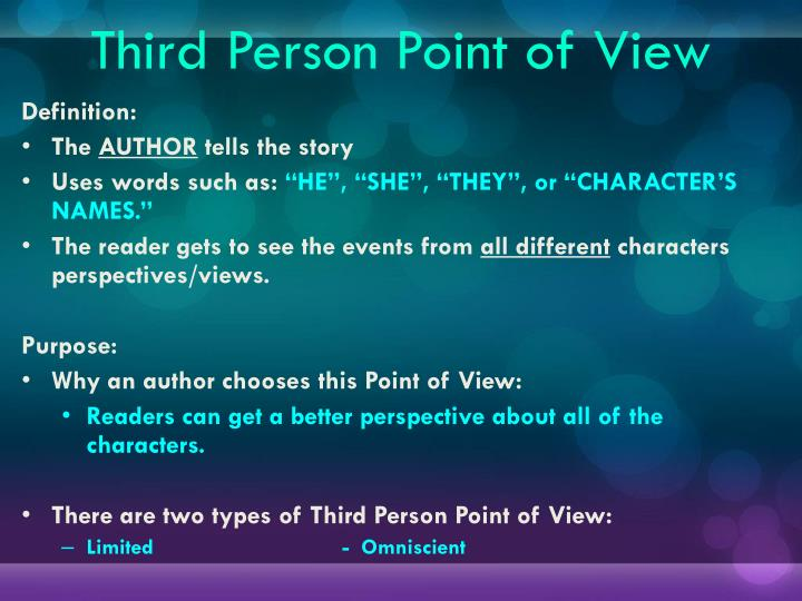 3rd person point of view research paper Traditional academic writing discourages the use of first or second person (i, we, you) this is because it does not sound objective instead, it sounds as though you have only a very limited, personal view of the issue you are discussing, rather than a view.