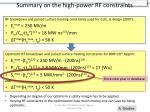 summary on the high power rf constraints