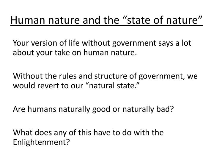 Human nature and the state of nature