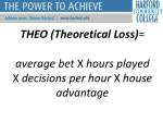 theo theoretical loss average bet x hours played x decisions per hour x house advantage