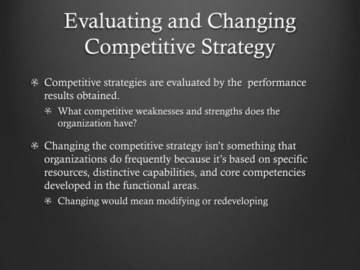 Evaluating and Changing Competitive Strategy
