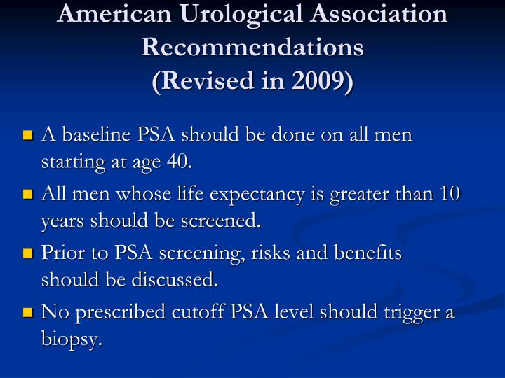 American Urological Association Recommendations