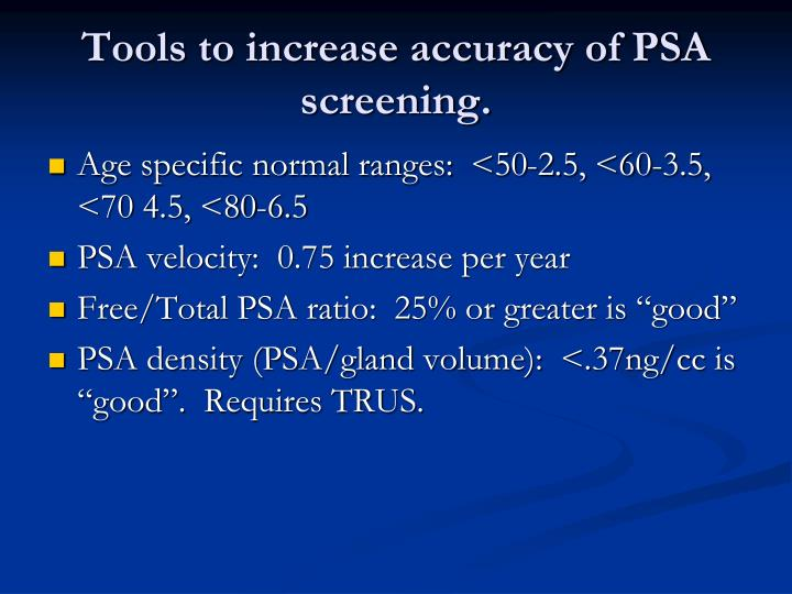 Tools to increase accuracy of PSA screening.
