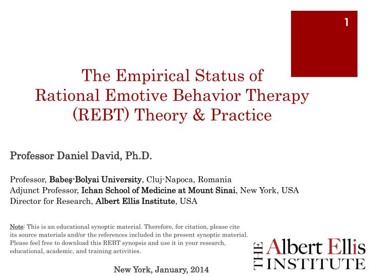 the empirical status of rational emotive behavior therapy rebt theory practice n.